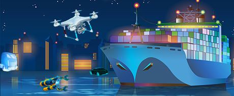 Montage of drone, autonomous vehicles and autonomous vessels
